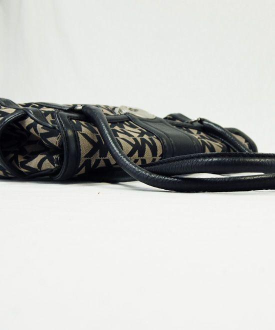 Michael Kors Black MK Logo Signature jacquard Satchel Purse Handbag