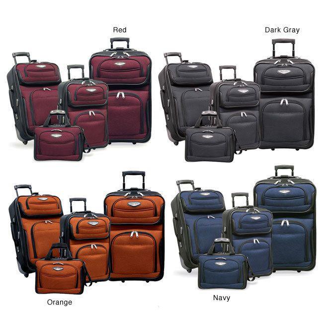 Travelers Choice Amsterdam 4 piece Luggage Set   Navy
