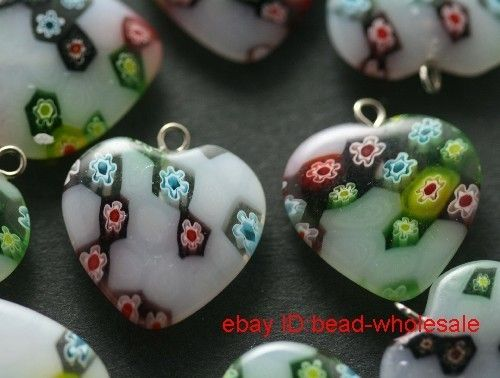 Free 4pcs mixed millefiori glass heart charm pendants