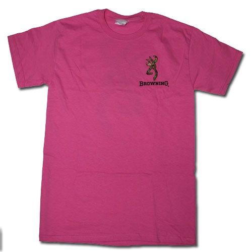 Pink Browning Camouflage Buckmark T Shirts   Logo Color Camo