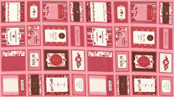 MODA PANEL~VALENTINES DAY~FABRIC CARDS/ QUILT LABELS~37010 11