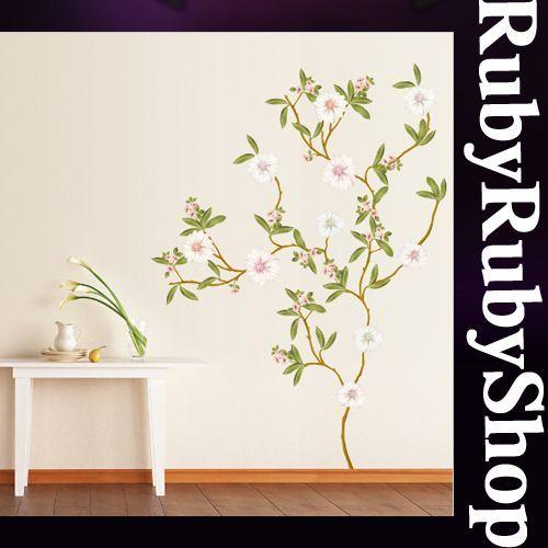 KR 0019 FLOWER TREE WALL PAPER ART DECO MURAL STICKER