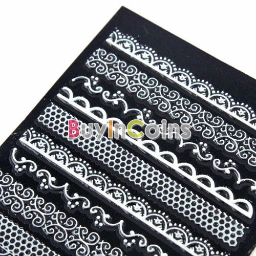 Beautiful 1 Sheet 3D Nail Art Stickers Style Bling Lace Tip
