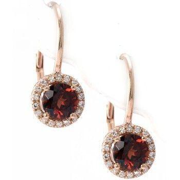 RED GARNET & DIAMONDS LEVERBACK EARRINGS 14K PINK GOLD