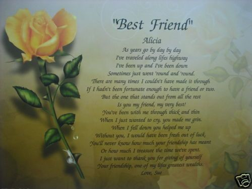 BEST FRIEND PERSONALIZED POEM BIRTHDAY / CHRISTMAS GIFT